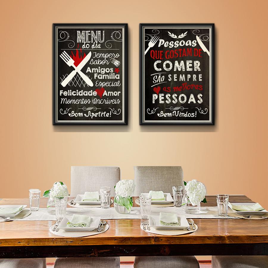 2 Quadros Cozinha Gourmet Frases Decora O Moldura Vidro No Elo7