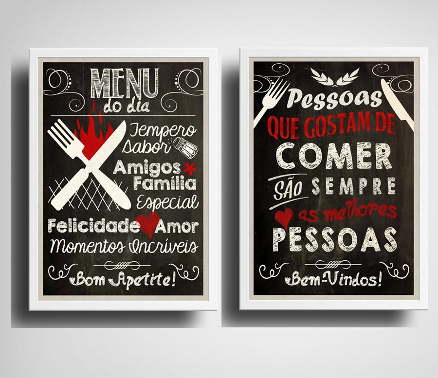 d47271734 2 Quadros Cozinha Gourmet Frases Decoração Moldura Vidro no Elo7 ...