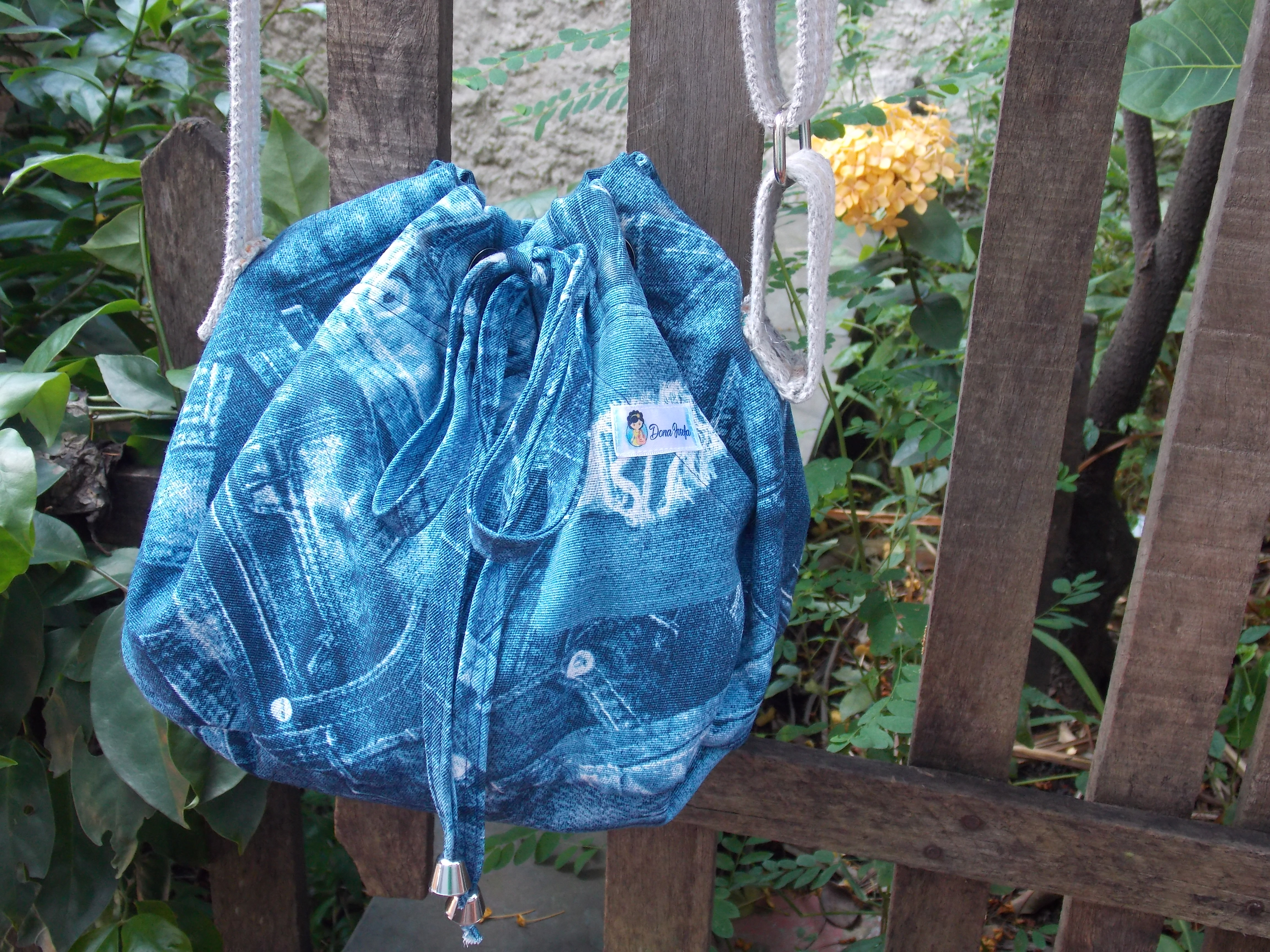Bolsa Saco Jeans - Bucket Bag (alça cinza) no Elo7  163294d51fe