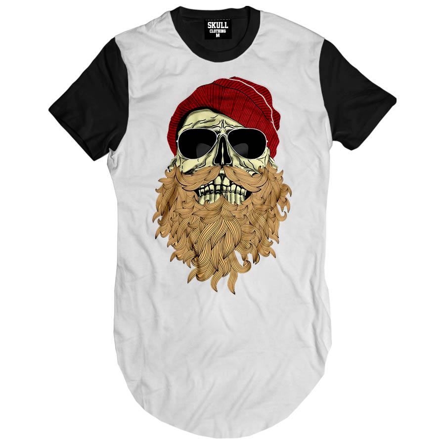 0f0fd4e03 Camiseta Masculina Longline Swag Caveiras Racer