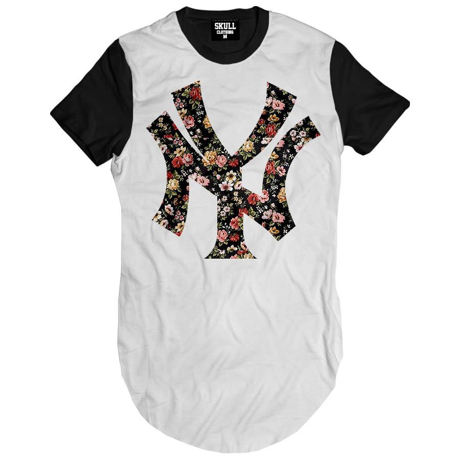 Camiseta Longa New York Ny Eua Hip Hop Camisa Masculina Swag  f6e439ca8c2