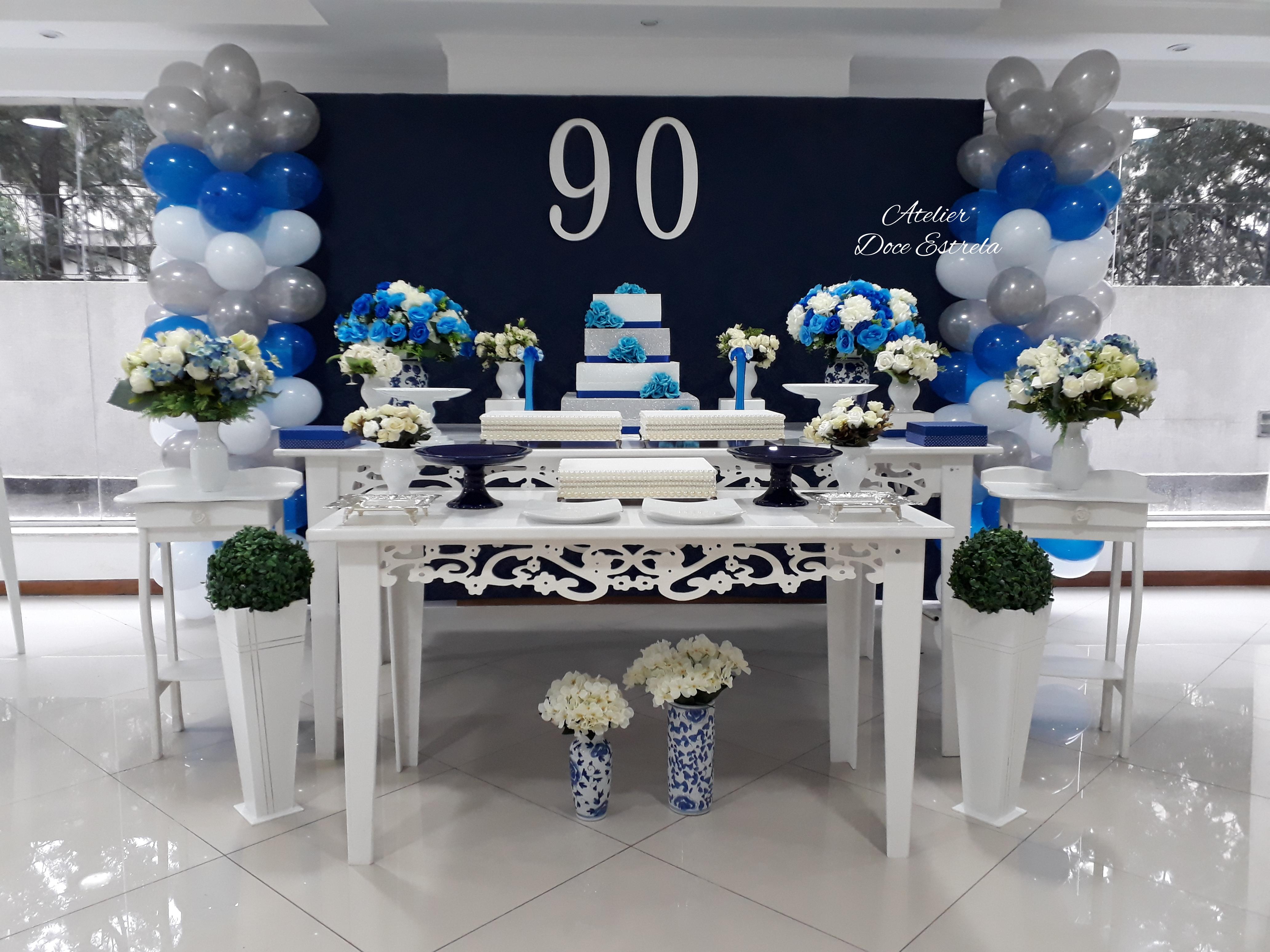 Decoração De 90 Anos Azul Marinho Com Branco No Elo7 Atelier Doce