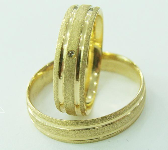 b750e154328 Par de Alianca de Ouro 18k Cletes Abaulada Diamantada