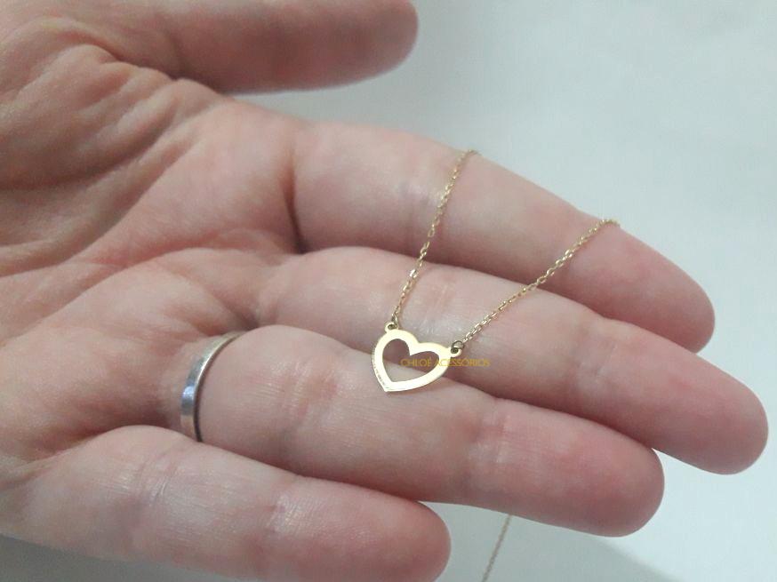 Gargantilha Choker Coração Vazado - Ouro 18K no Elo7   Chloé Acessórios  (B43E12) b96734e192