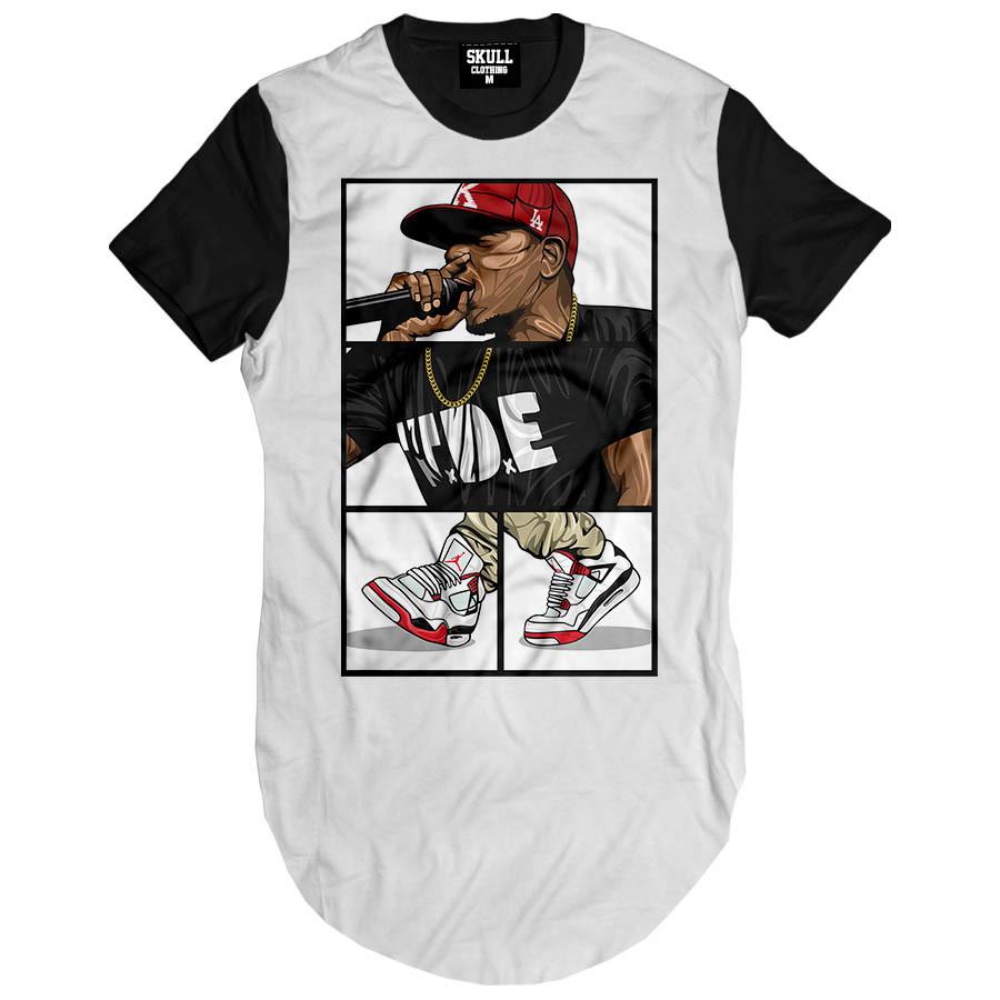 Camiseta Long Line Girl Rapper Camisa Longline Masculina  c65b69eaacc