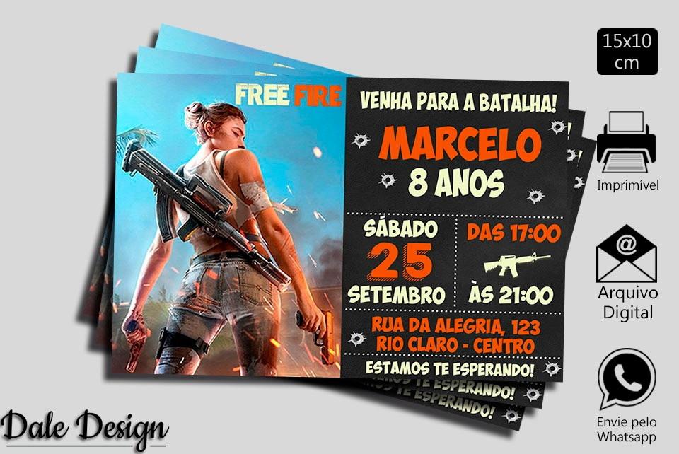 Convite Digital Free Fire Battleground Estilo Chaklboard No Elo7