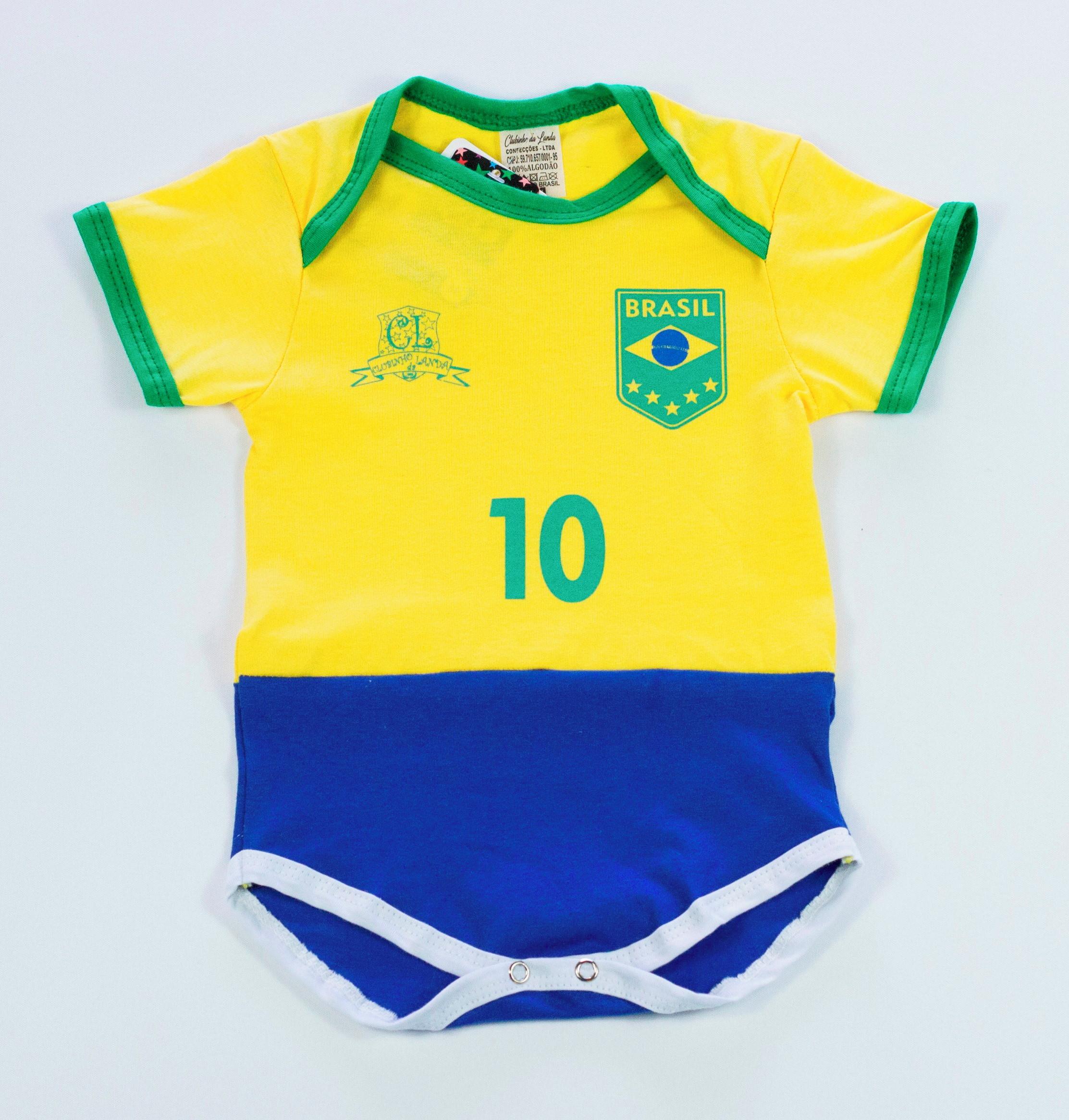 4764f91562 Body Tip Top Bebê Enxoval Brasil Time Futebol Seleção no Elo7 ...
