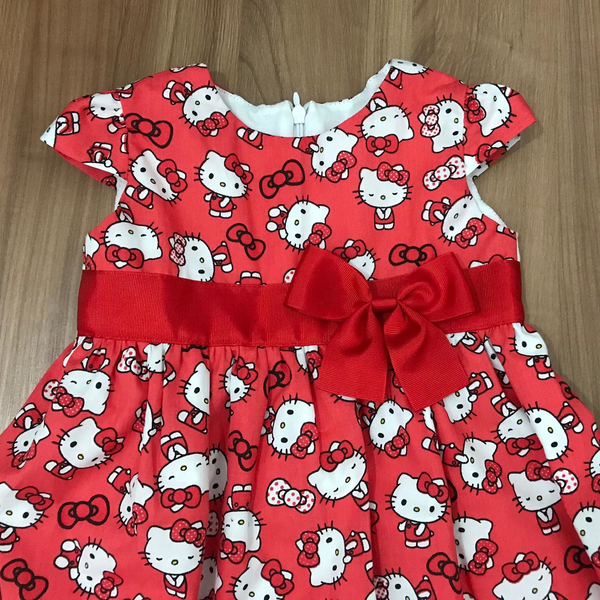 Vestido infantil Hello kitty vermelho no Elo7  5605fae5cc8