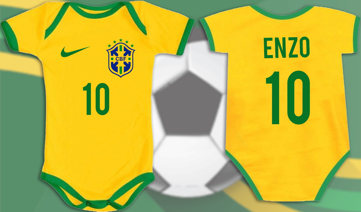 Kit Body Camiseta Brasil Infantil Personalizada C Nome  d98ae7f403607