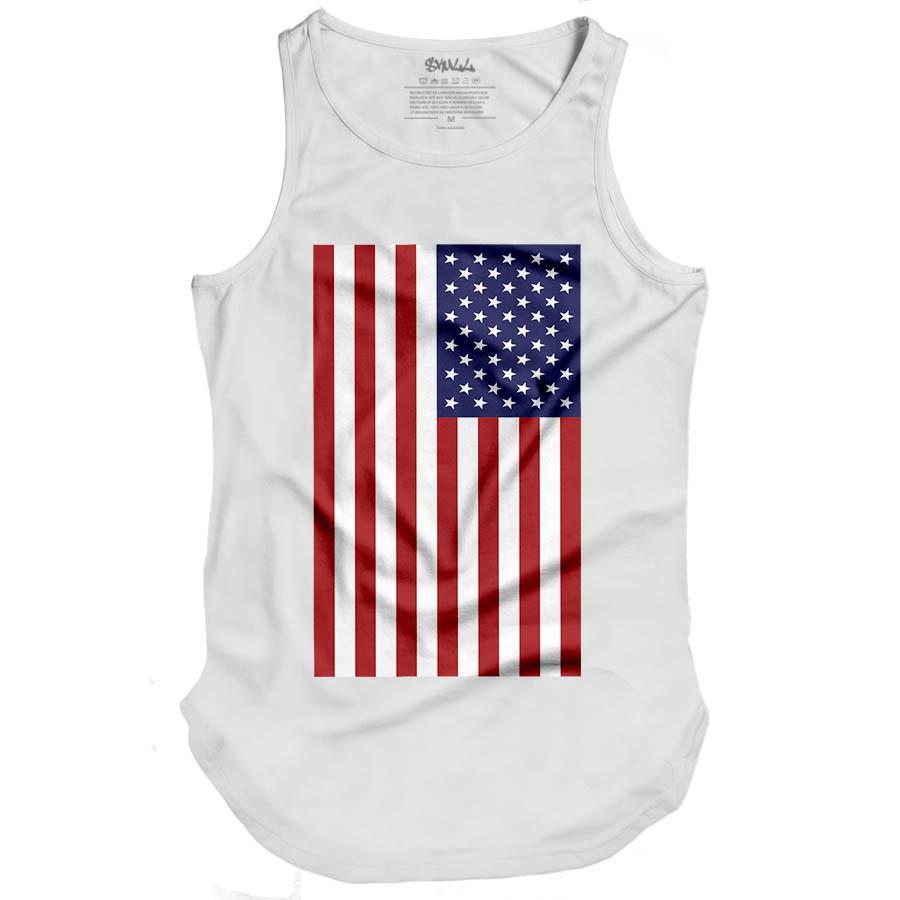 39832f629f2ce Camiseta Regata Masculina Oversized Long Line Bandeira Eua