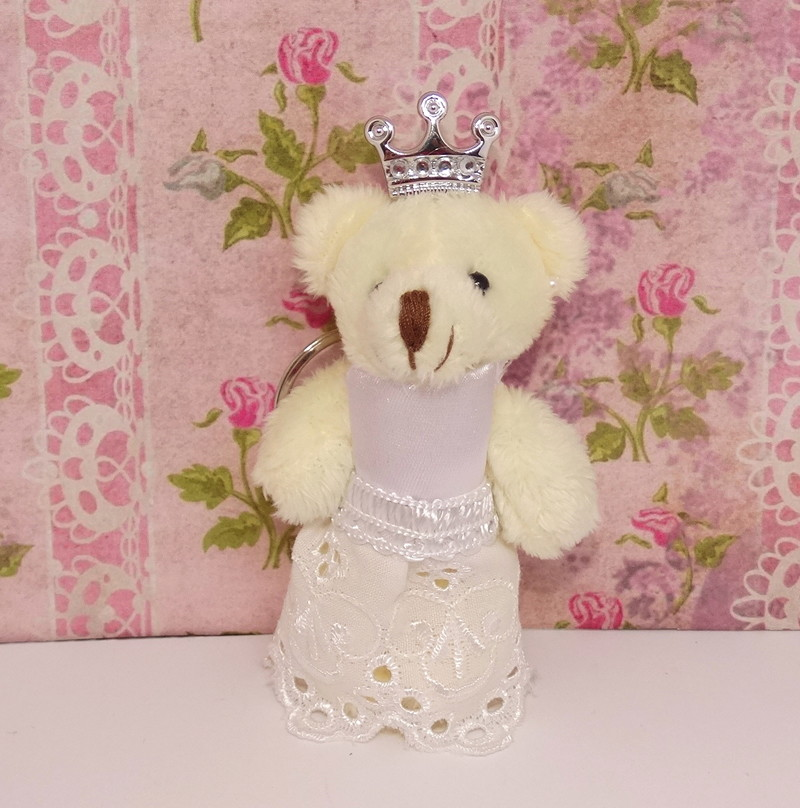 Mini Ursa Princesa De Vestido Branco