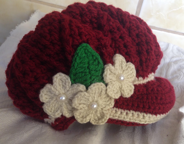 Boina Preta em Croche com Flor  3937baea916
