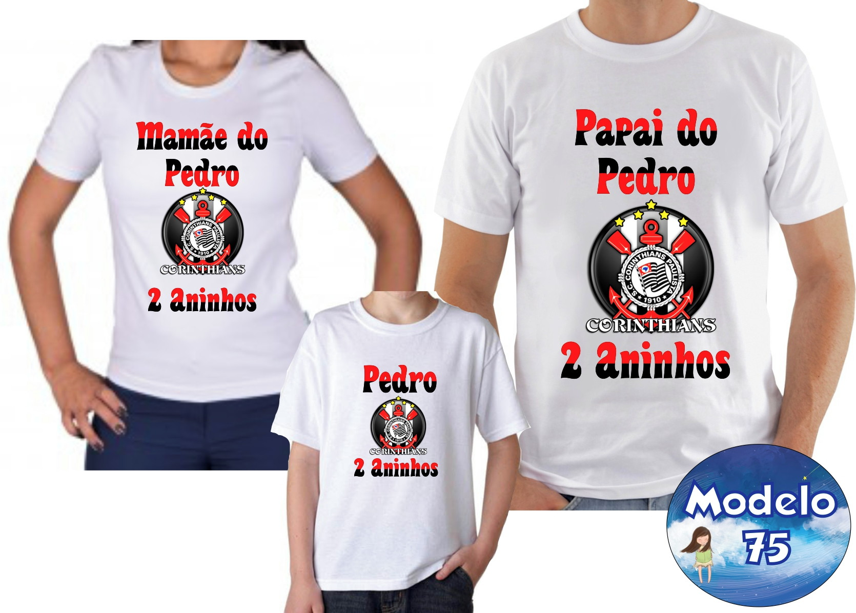 77c6ffe8d60f8 Camisa Camiseta Personalizada Time de Futebol Corinthians 3