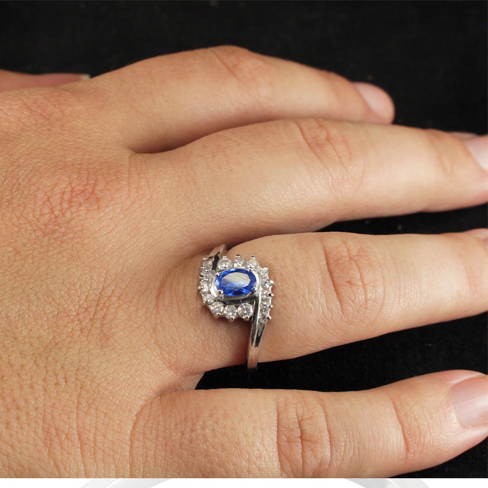 Anel Chuveiro Pedra Azul Safira com Zircônias Brancas no Elo7   Giovanela  Jóias (C13602) 758f0d3f97