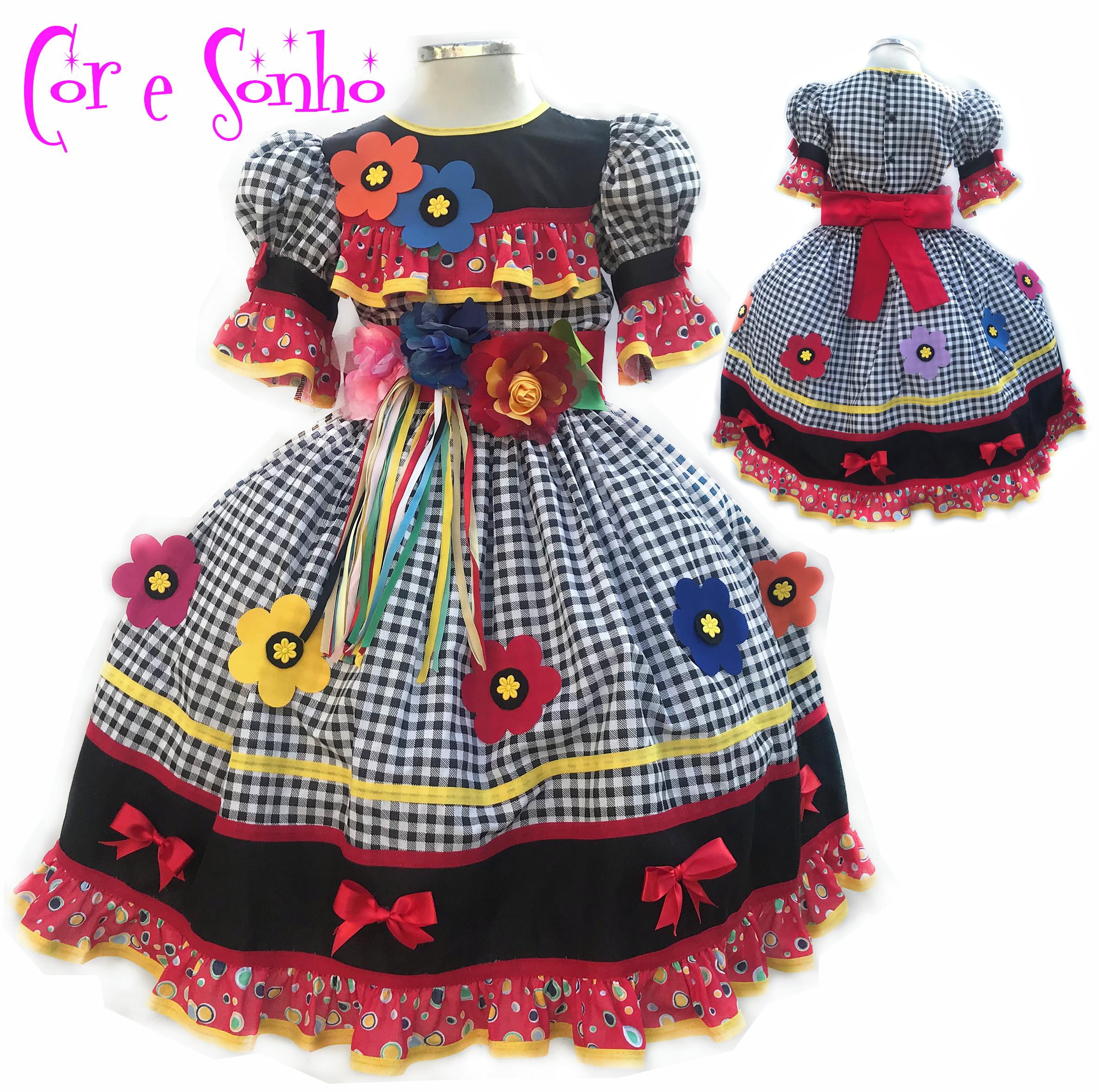 Vestido de Menina Quadrilha Festa Junina no Elo7  677b860a1b5