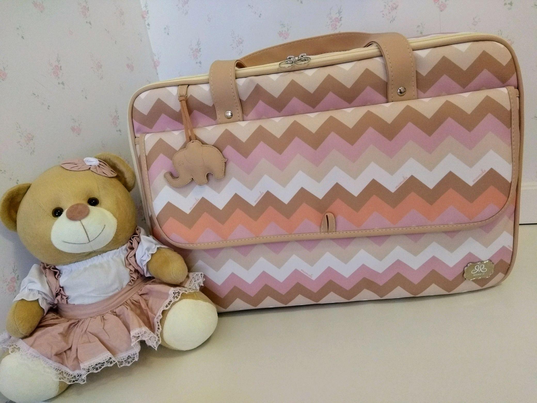 24b6cbc026 Kit Bolsas Maternidade chevron rosa clássica no Elo7