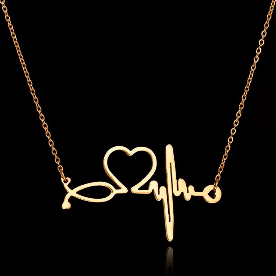 9741367a83671 Colar Enfermagem batimentos coração Folheado a Ouro 18k no Elo7 ...