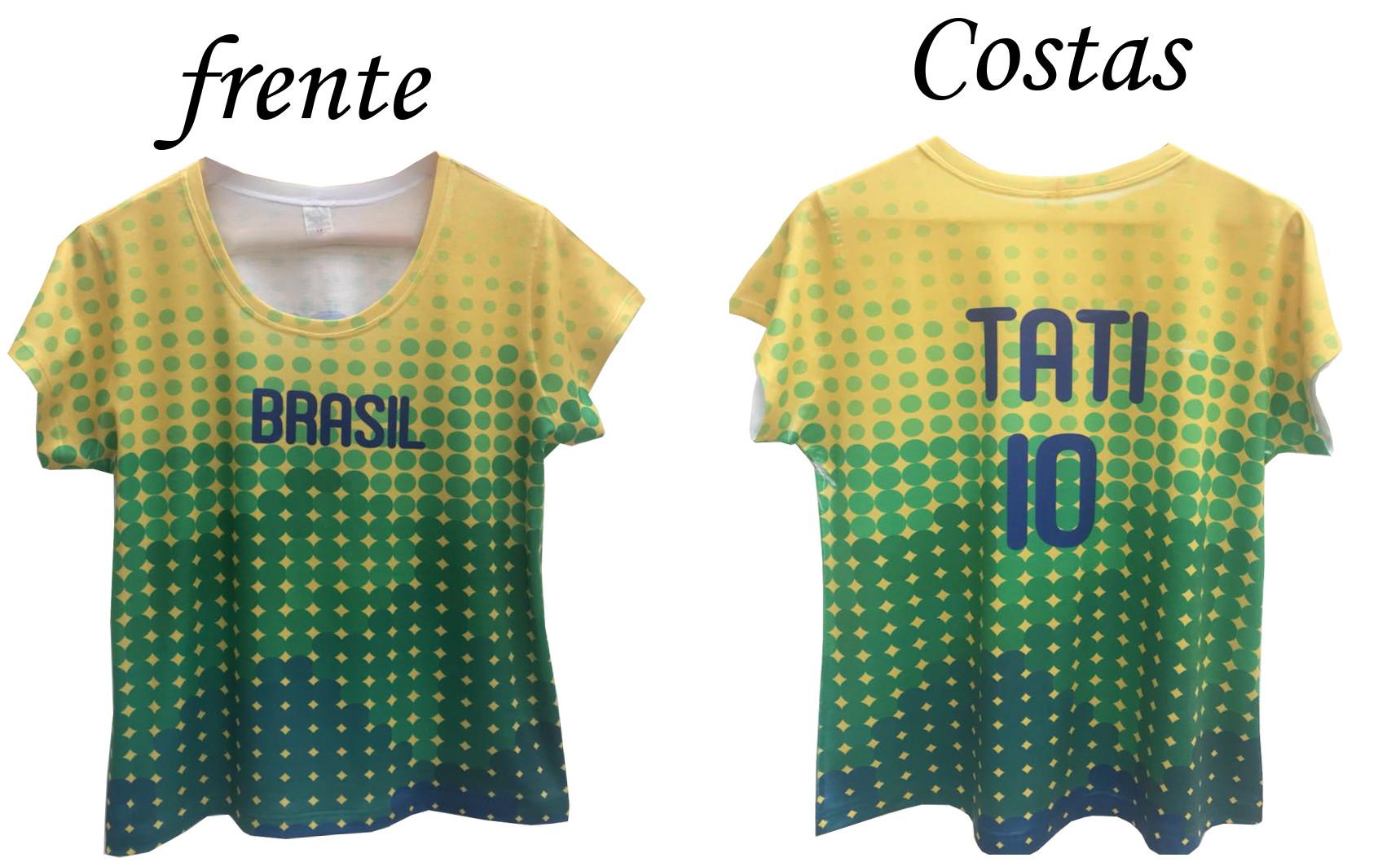 Camiseta Feminina Brasil Copa Personalize Com Seu Nome no Elo7 ... 789a9d95af1b6