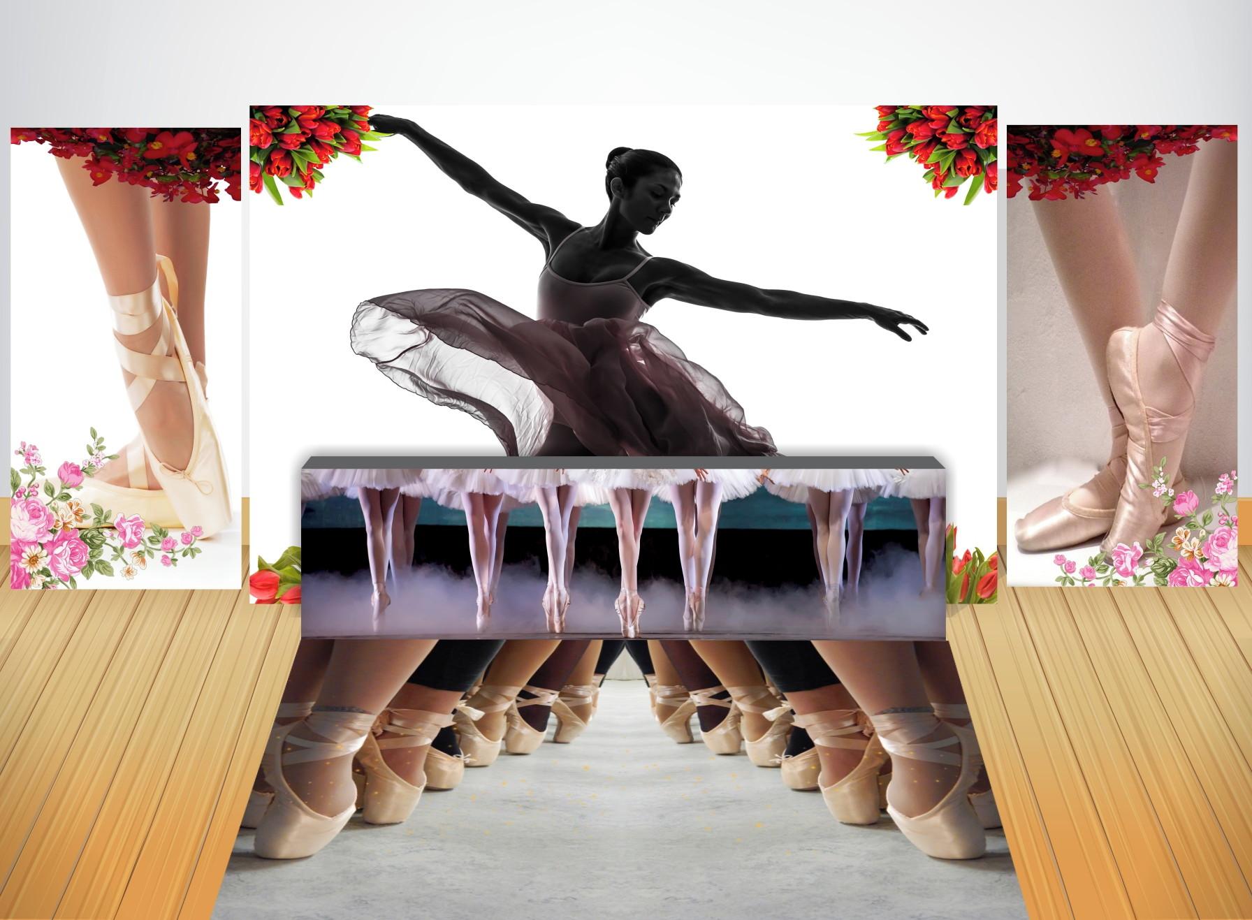 66fa3cddf2 3 Painéis + Saia + Tapete Lona Kit Luxo Ballet no Elo7