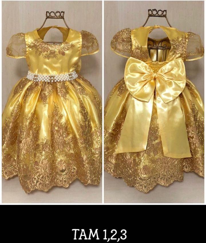 c79bc7e5c Vestido Festa Princesa Reinado Amarelo Dourado - 1 2 3 anos no Elo7 ...