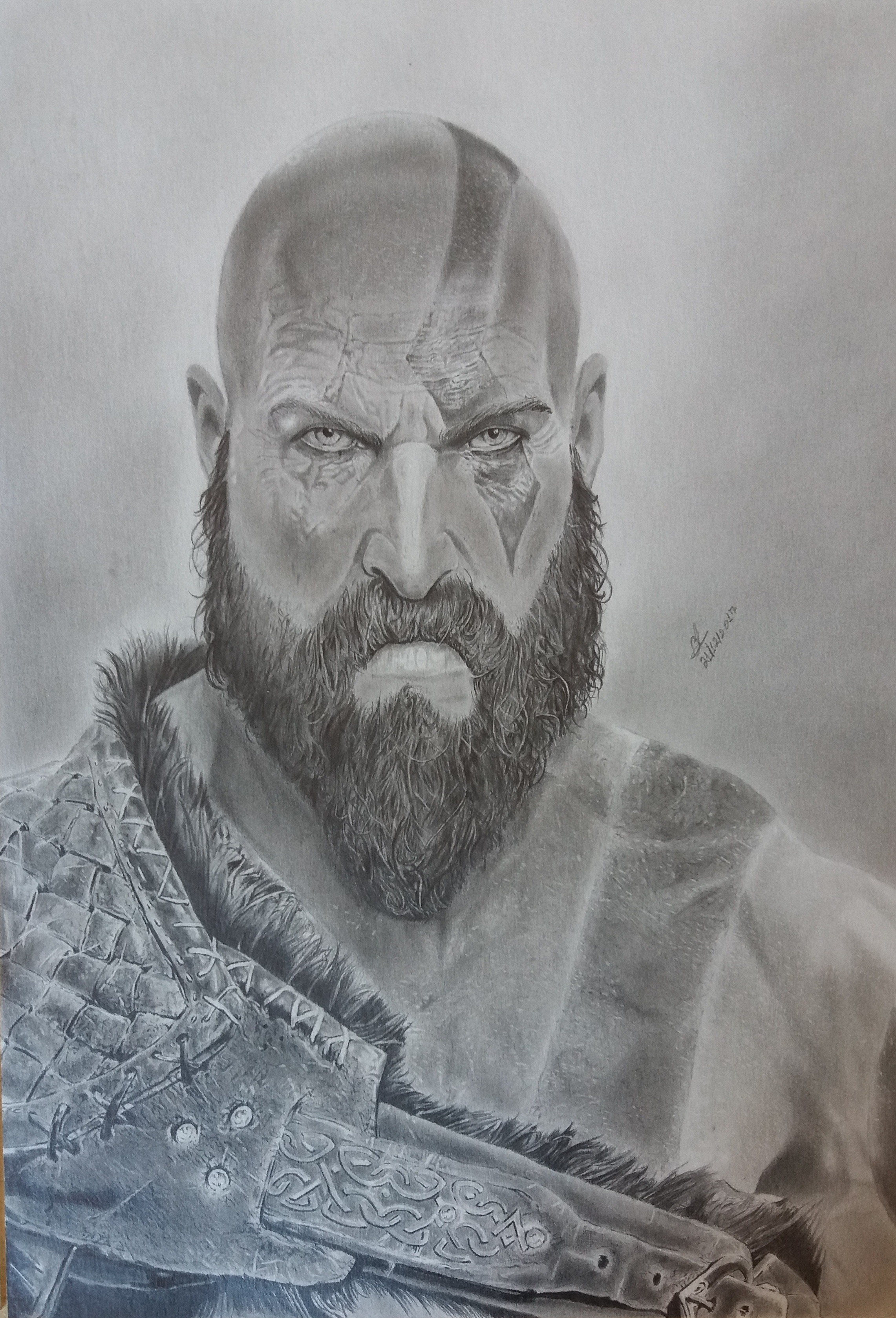 Desenho Realista Kratos God Of War Folha A3 No Elo7 Claudio
