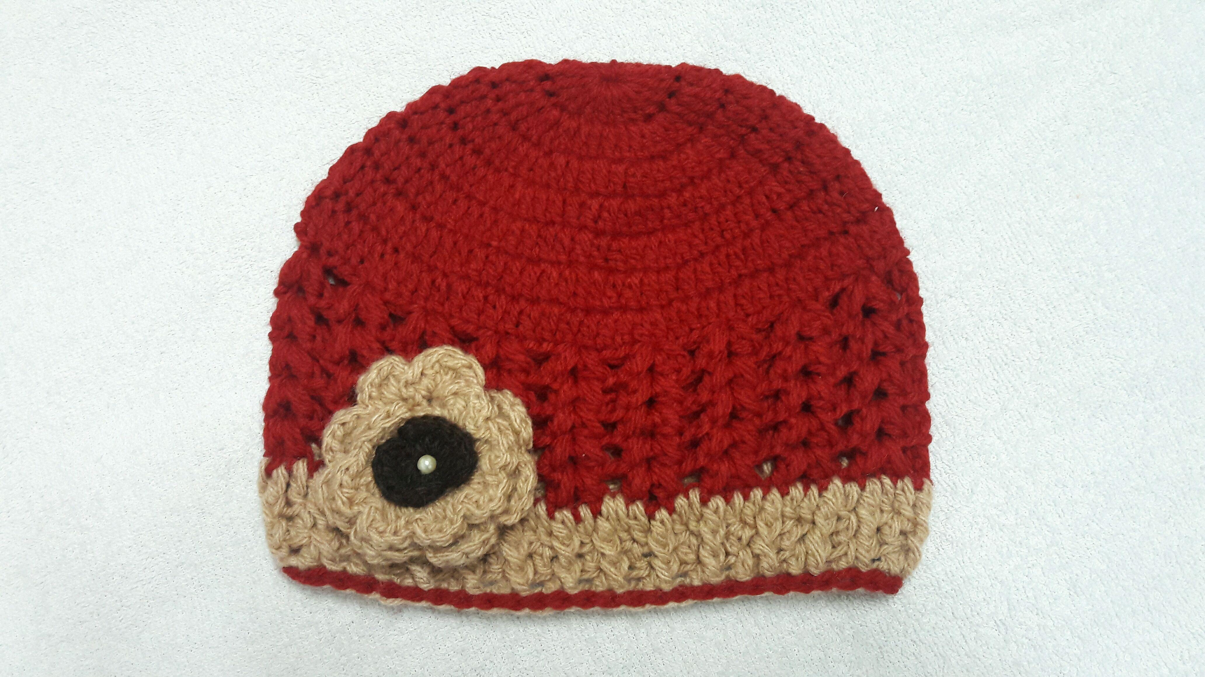 Touca em Croche Feminina Detalhe Flor  4744c27f220