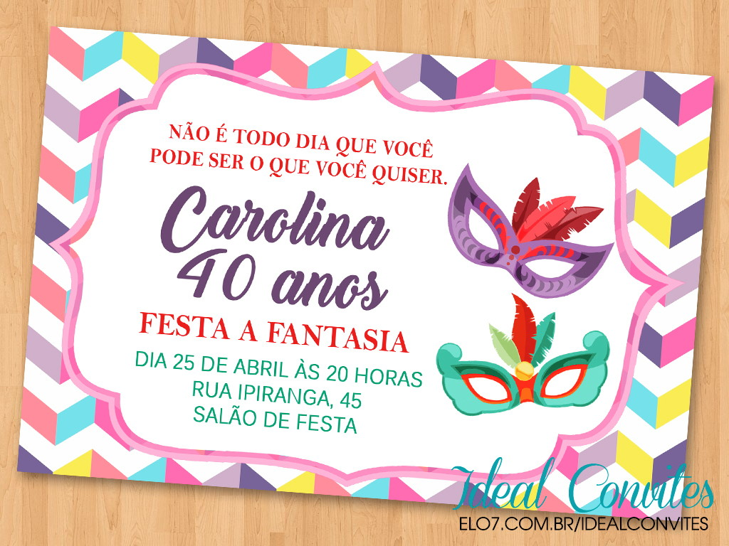 feb7a6506183b0 Convites Festa a Fantasia Masculino | Elo7