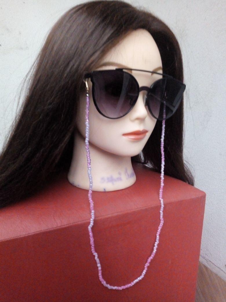 Corrente Oculos Pompom Rosa   Elo7 92eb274593