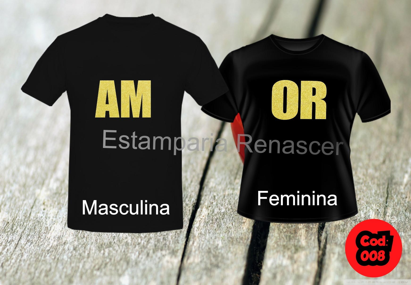 a848d6ea0b245 Camisetas Namorados Amor Love Casal | Elo7