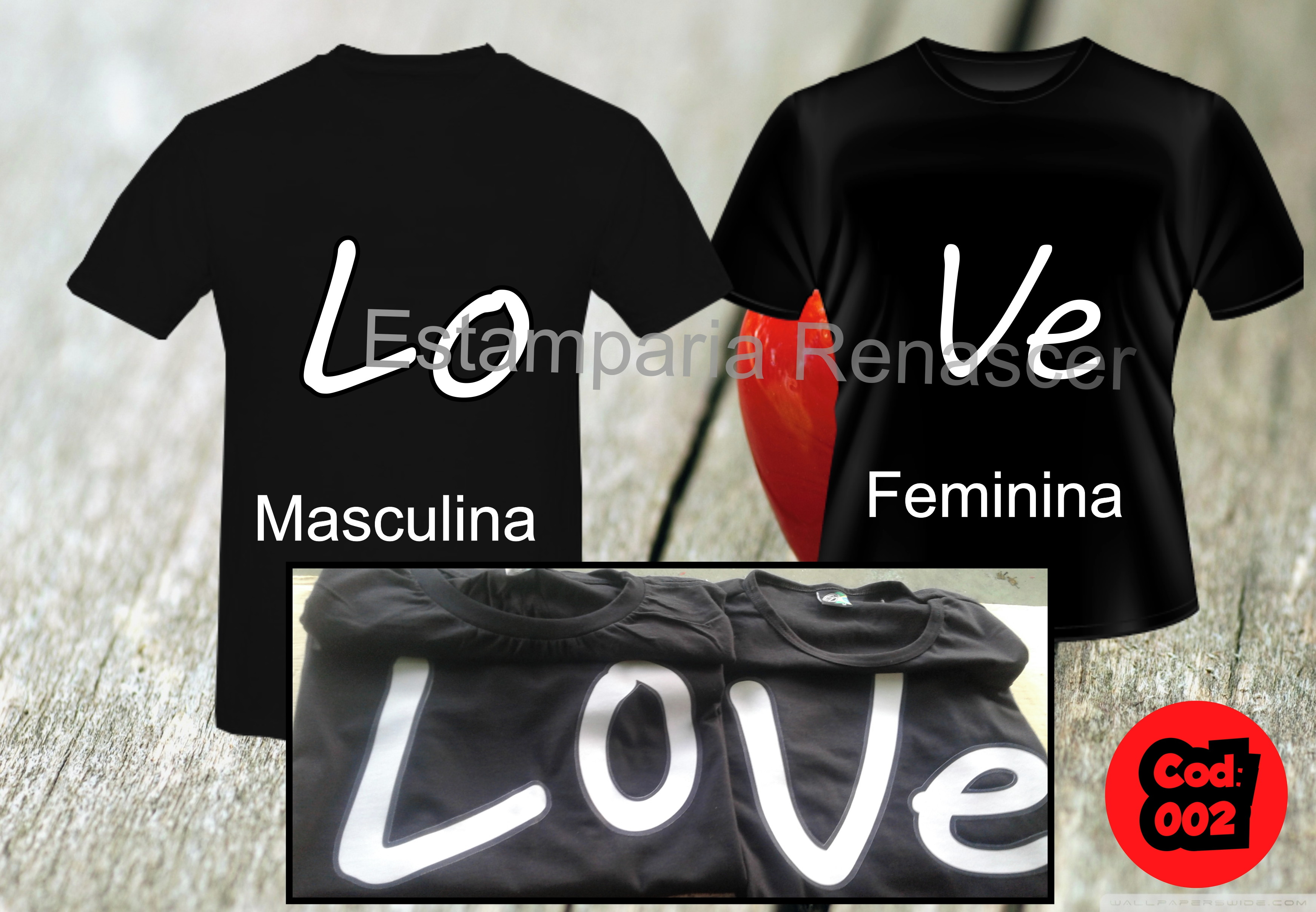 6c79b5efe0ed6 Camisetas Namorados Love Casal | Elo7