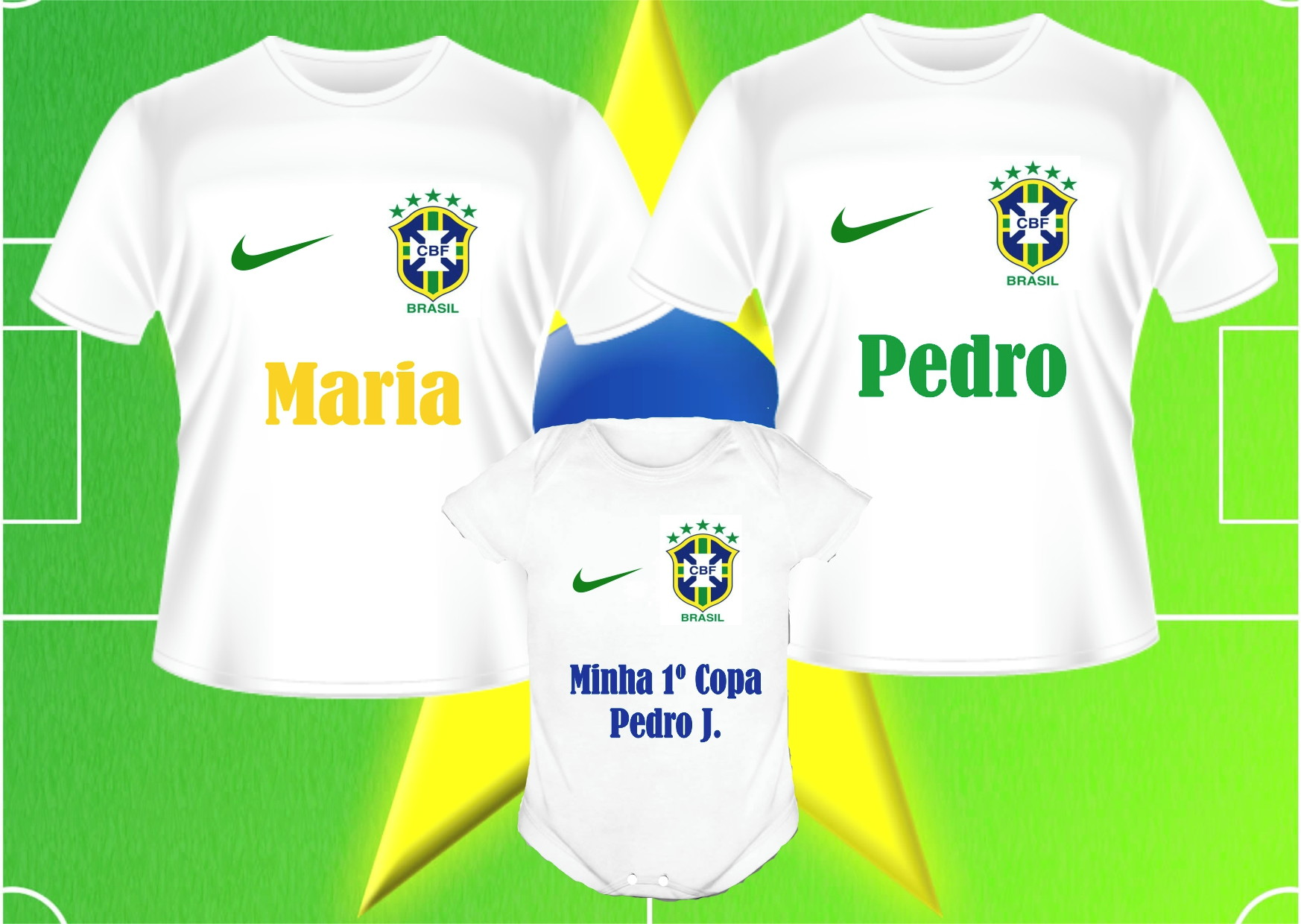 d6353ea930cc3 Camiseta Brasil Seu Nome Na Copa 2018