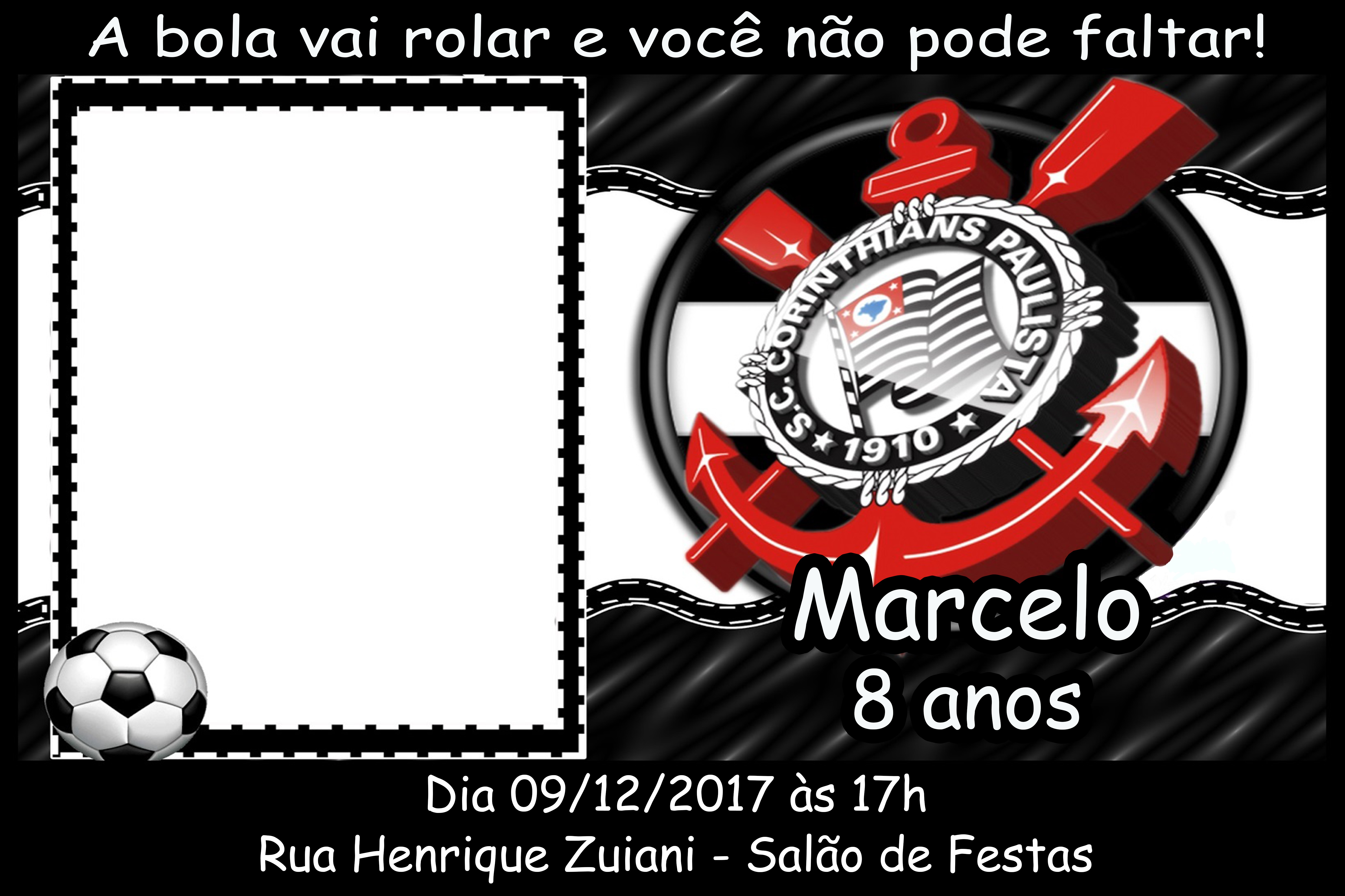 Convite Virtual Corinthians Elo7