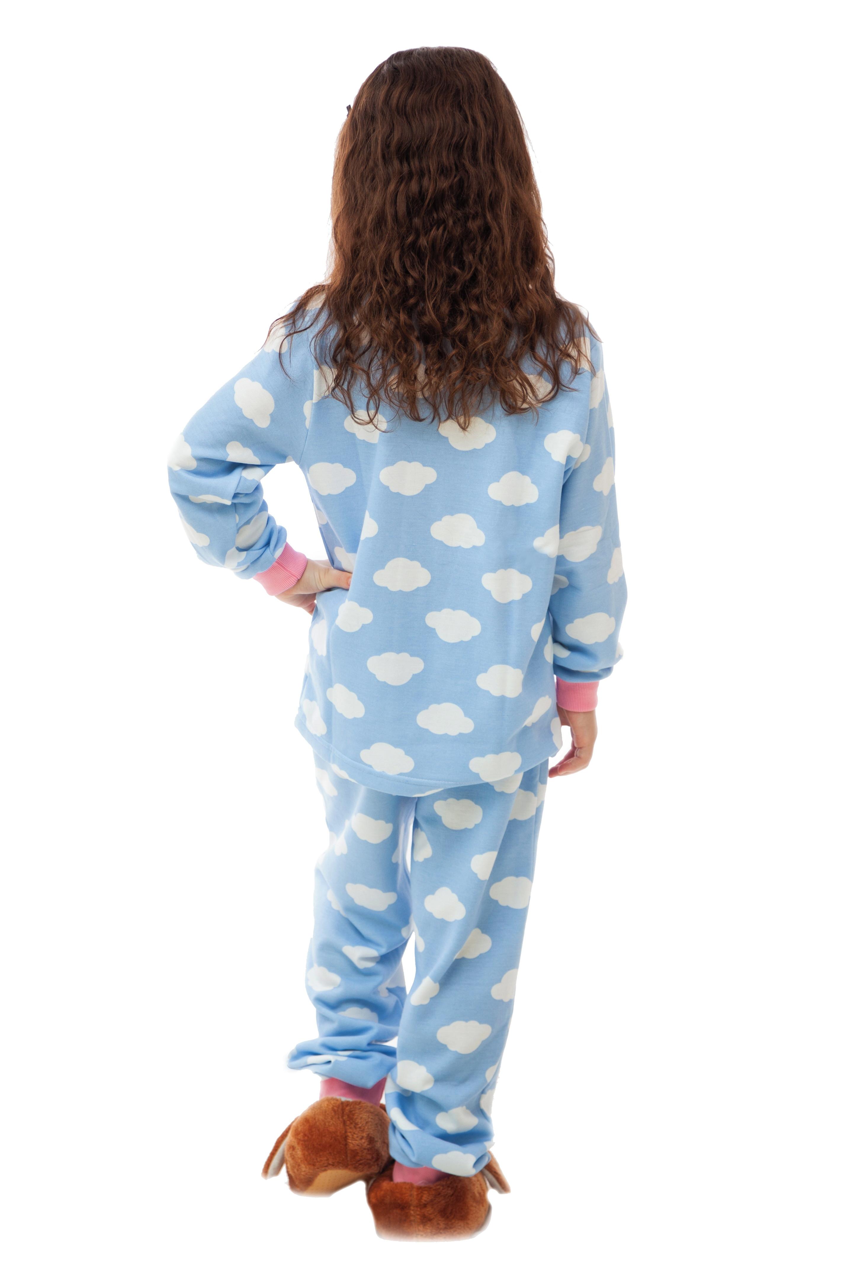 90f44fe850 Pijama Flanelado Infantil Feminino Nuvens no Elo7