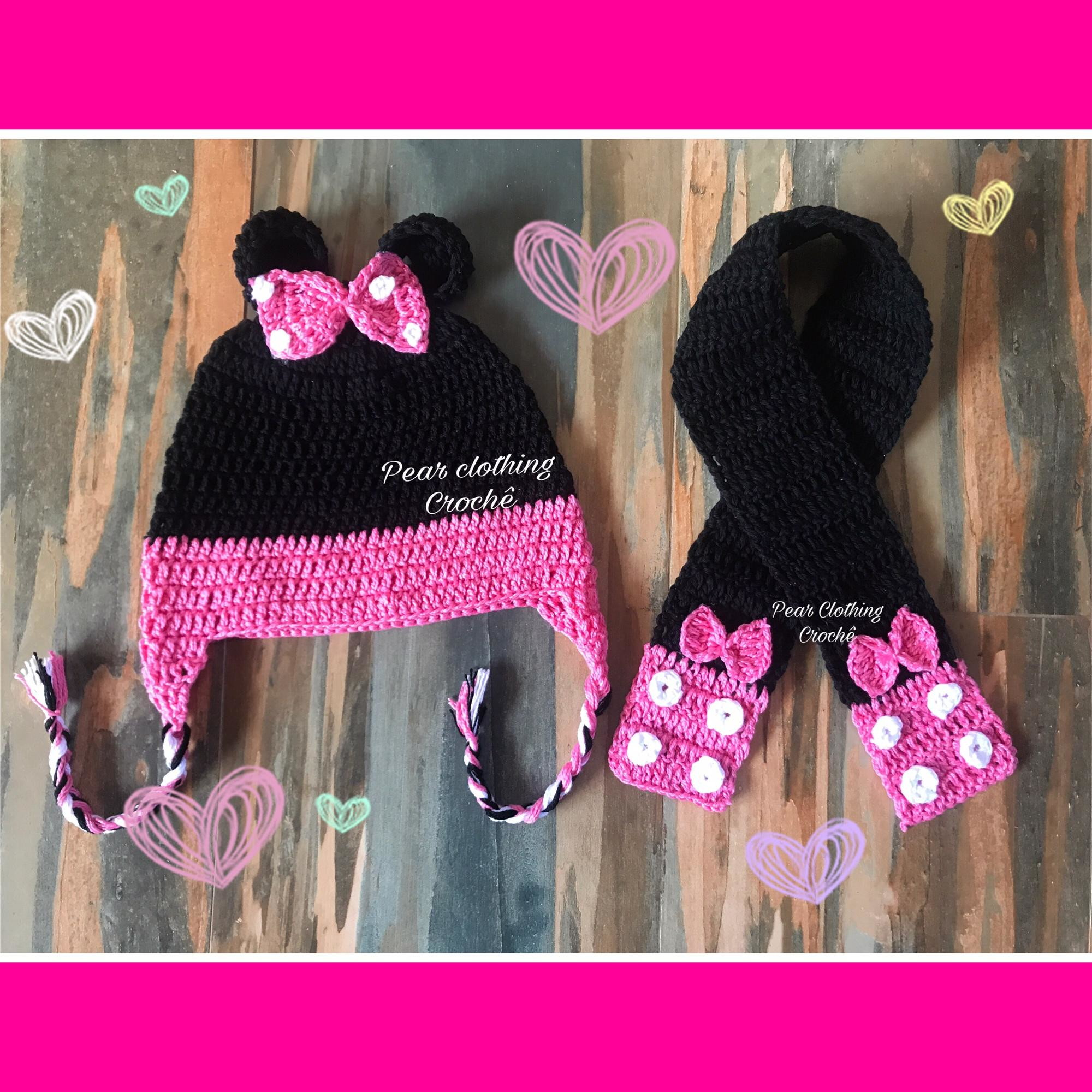 Kit Inverno Cachecol e Touca Minnie Croche  bf28e29b48e