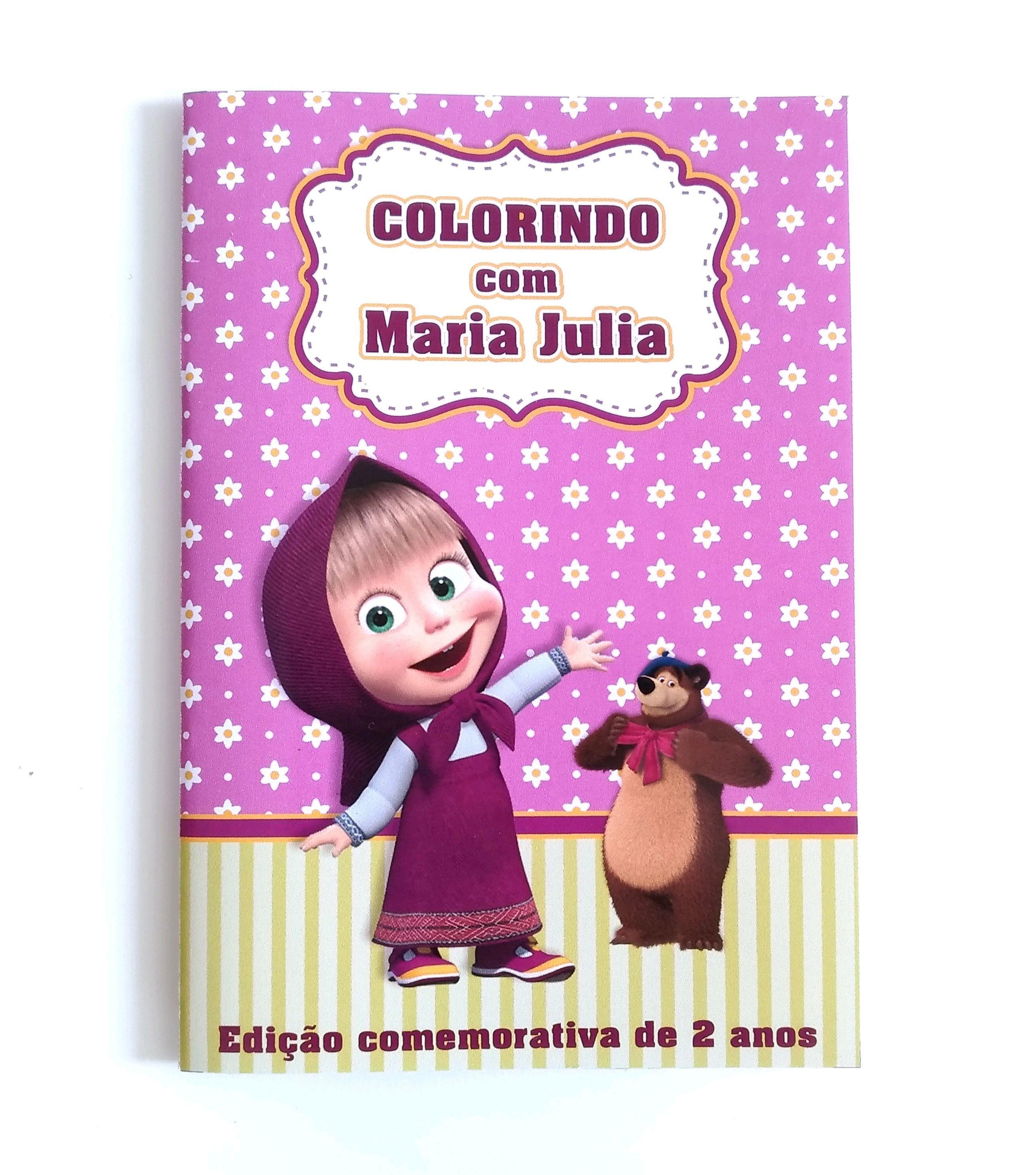 Livrinho Para Colorir Masha E O Urso No Elo7 Laco Azul E Rosa
