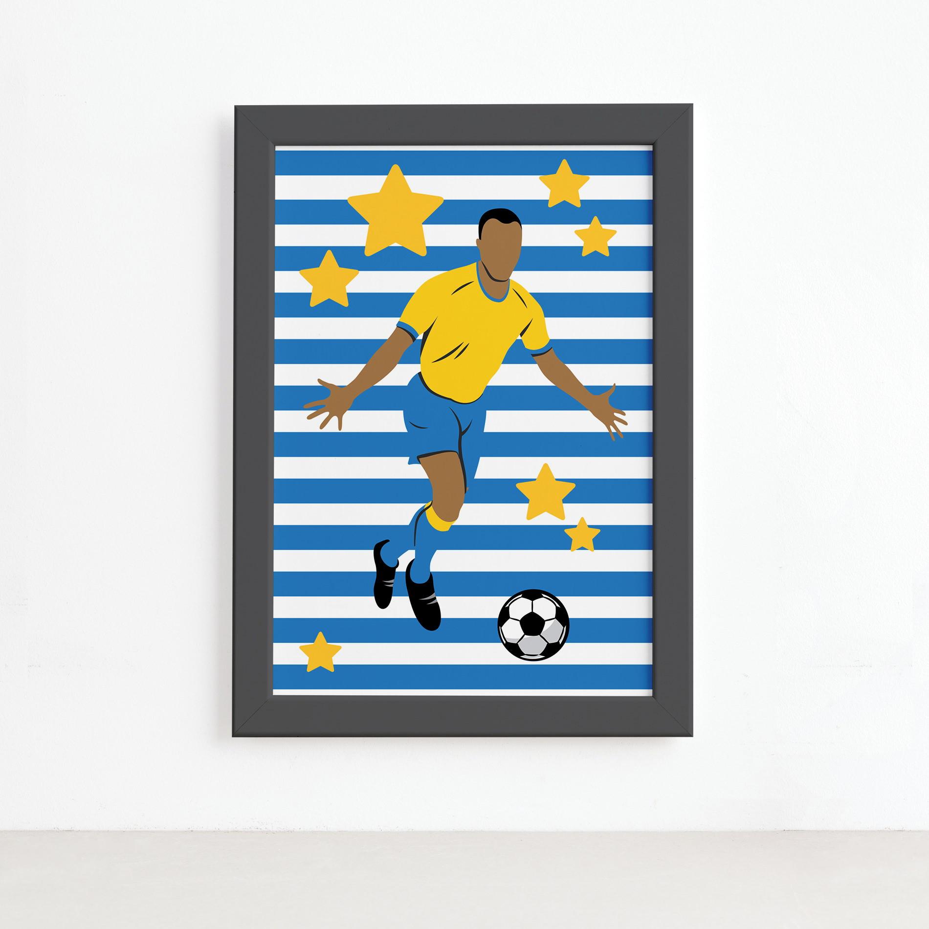 Quadro Infantil Futebol Gol Jogador Azul 22x32 Moldura Preta  411d13c8415c0