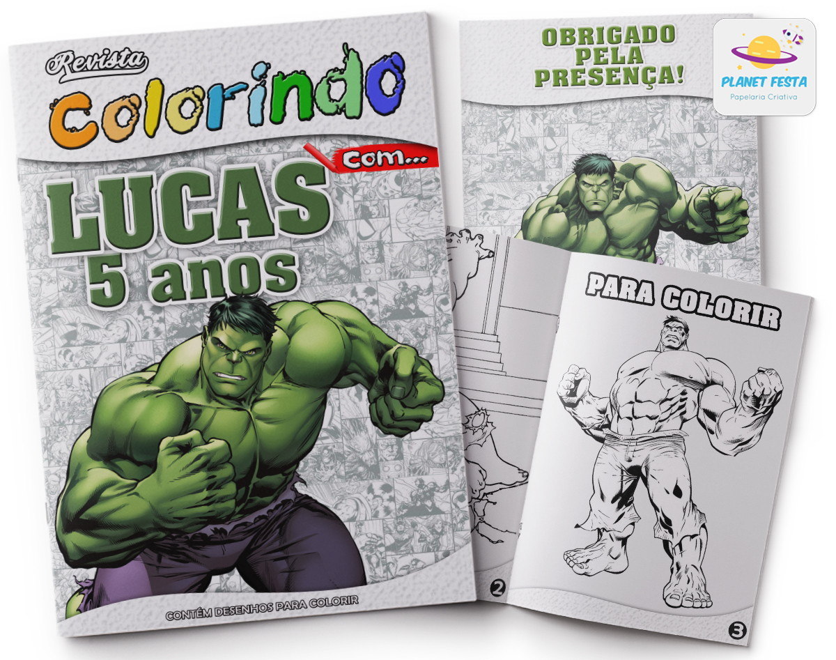 kit de colorir do hulk elo7
