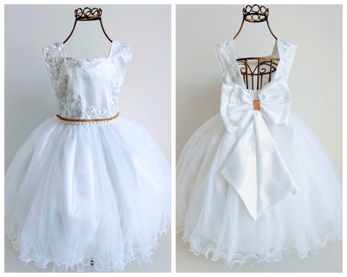 5368bdc148 Vestido Festa Realeza Luxo Branco