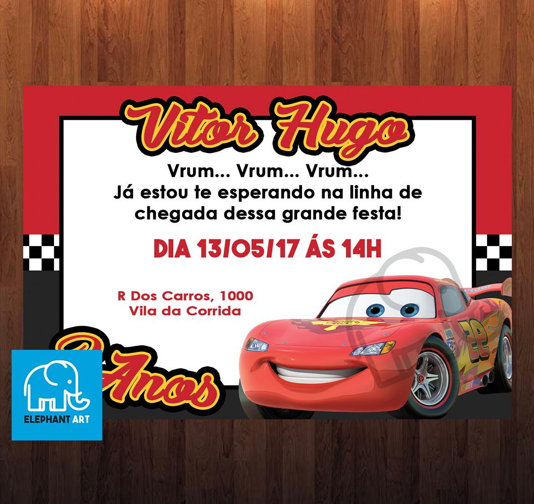 Convite Aniversário Carros Arte Digital No Elo7 Elephant Art 928a39