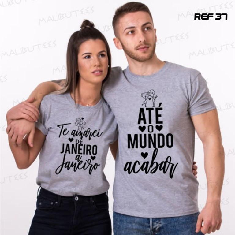 Kit 2 Camisetas Cinza Mescla Namorados Casal Love Amor No Elo7