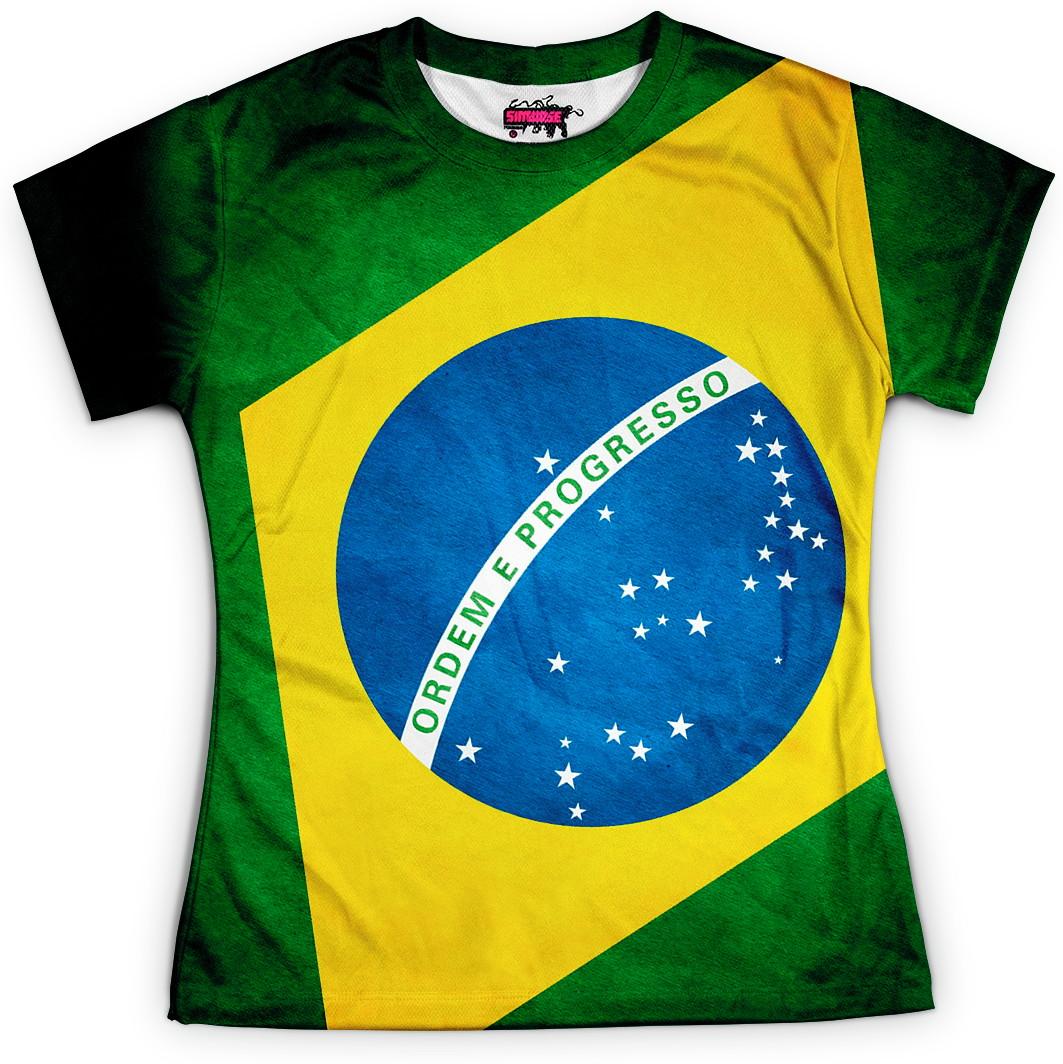 ac3c36d300 Camisa Feminina Bandeira do Brasil