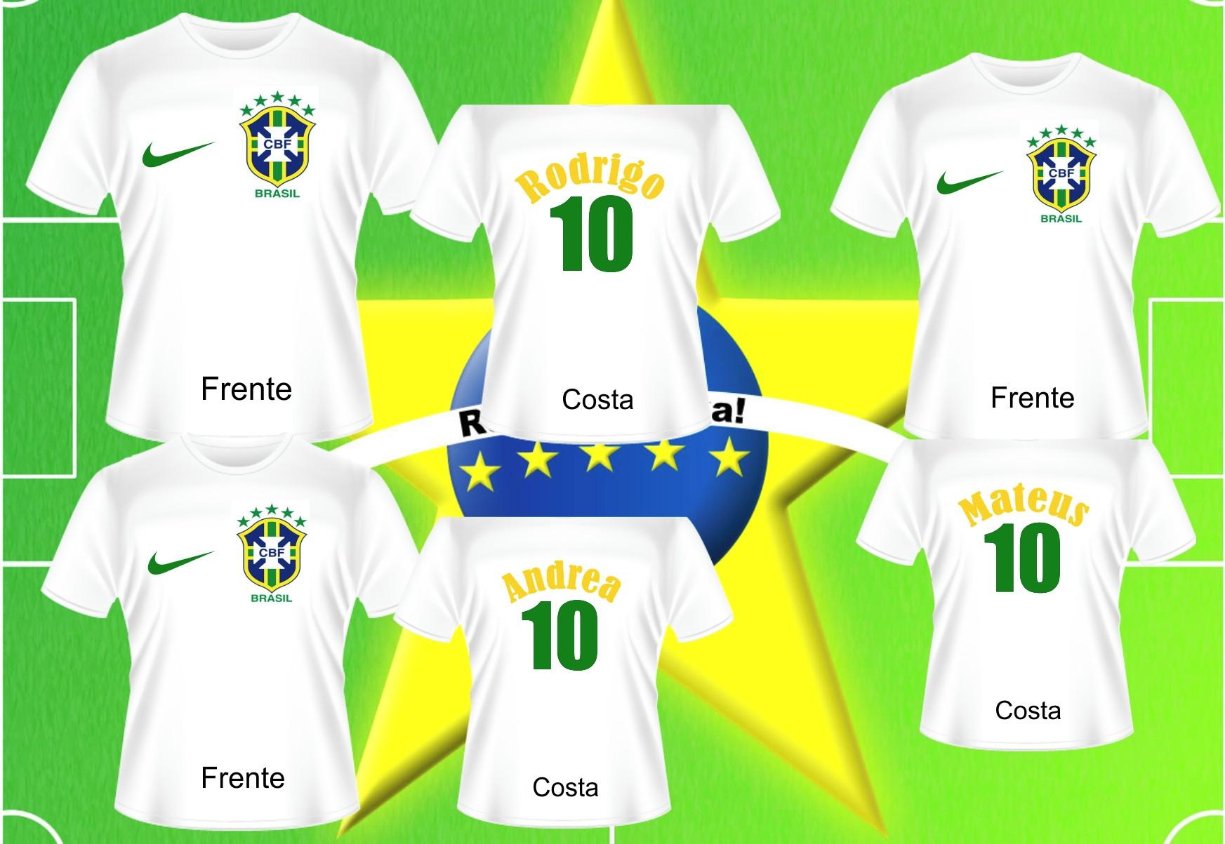 0fffd7a2a Kit Camisetas Copa do Mundo Brasil 2018 com Nome e Numero
