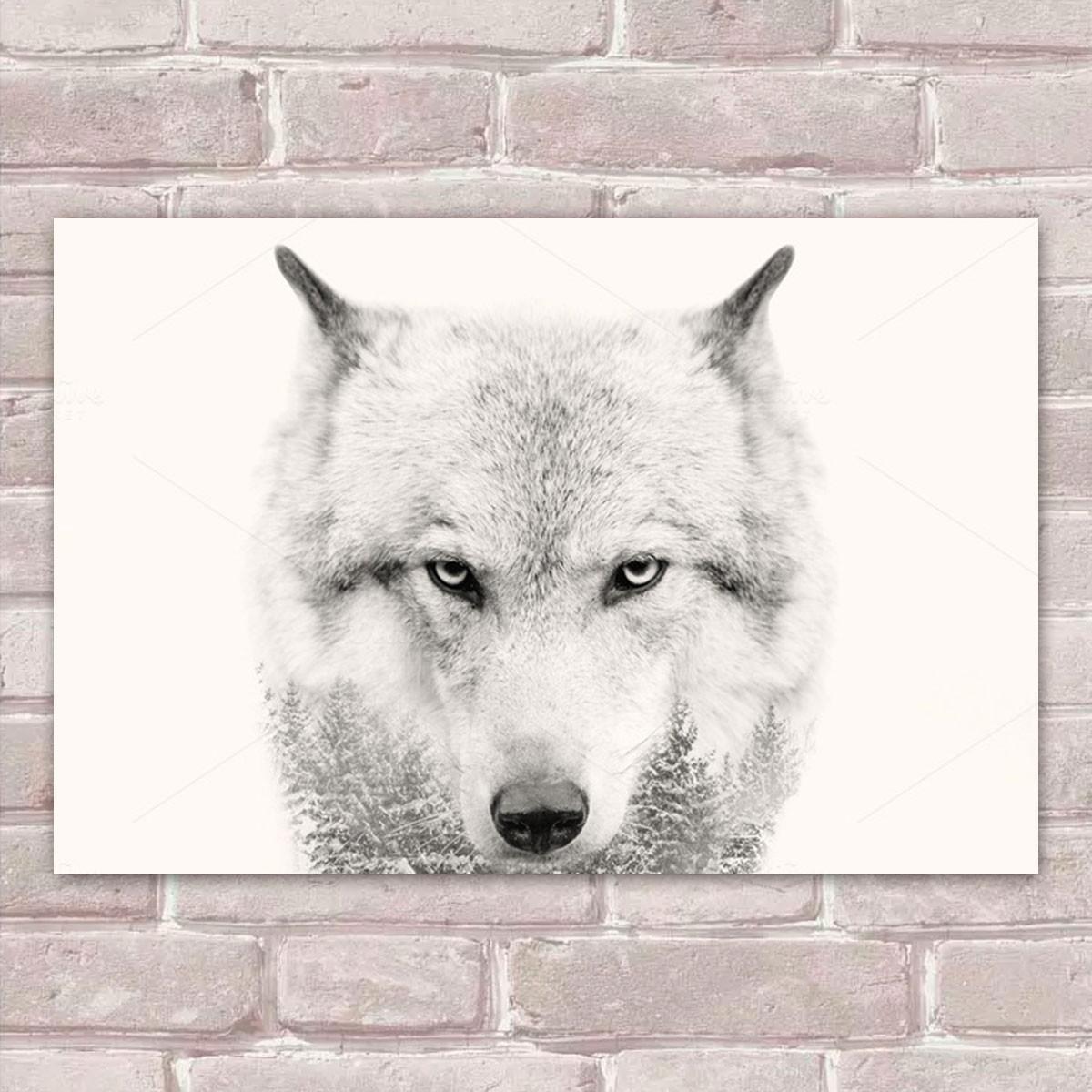 0161c887c Placa Decorativa Animais 92 Lobo 30x20cm