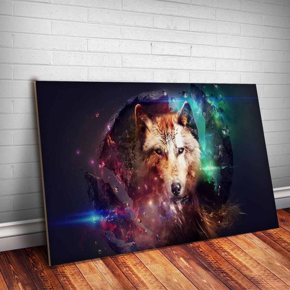 a7a5fe1b6 Placa Decorativa Animais 20 Lobo Noite 30x20cm