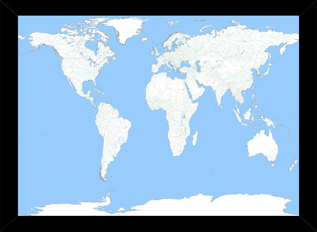 mapa do mundo em branco Quadro Mapa Mundi Luz Azul Tamanho 35x25cm C Vidro | Elo7 mapa do mundo em branco