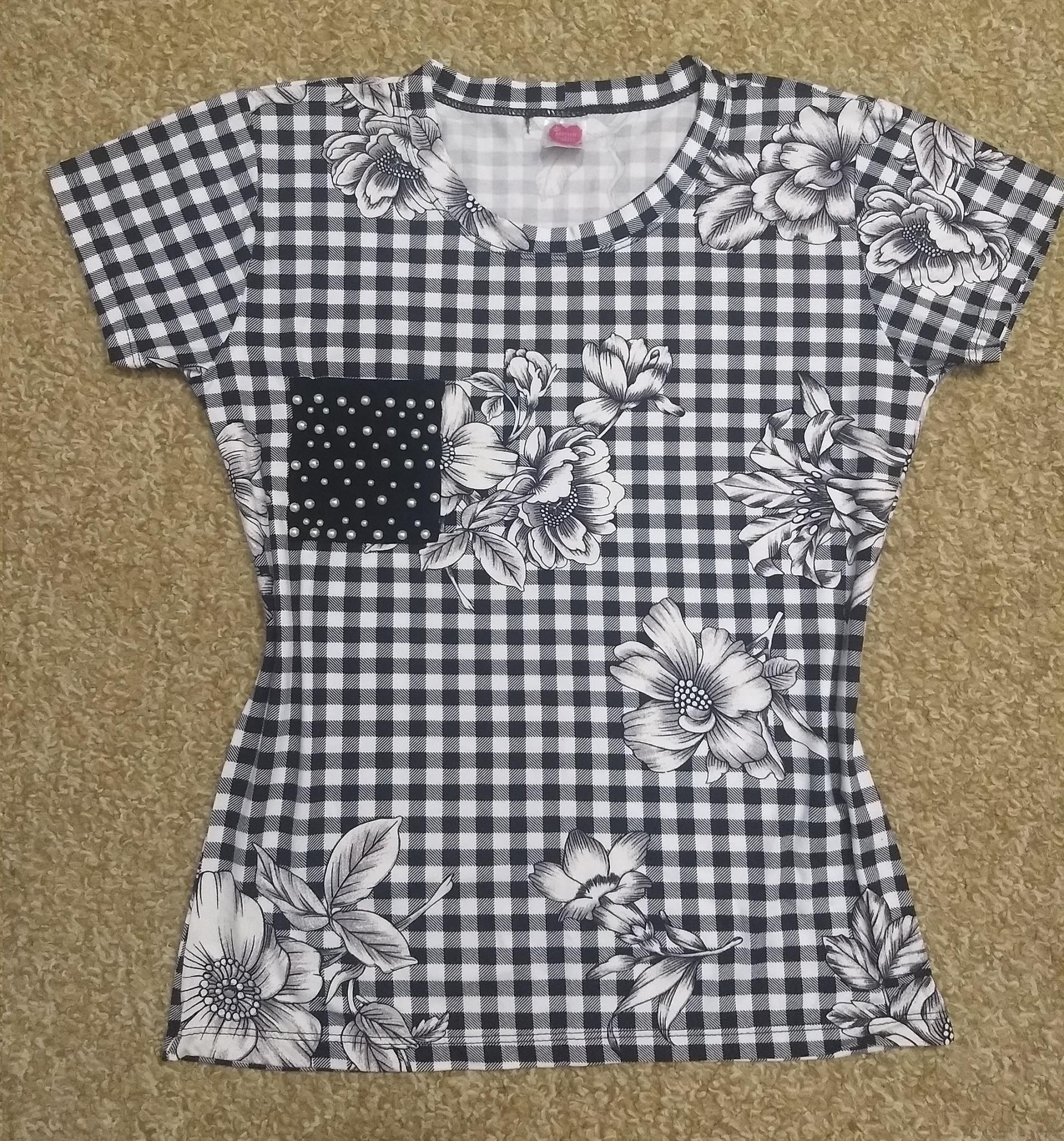 Camiseta bordada Xadrez com bolsinho de pérolas no Elo7  ca01fa986ec89