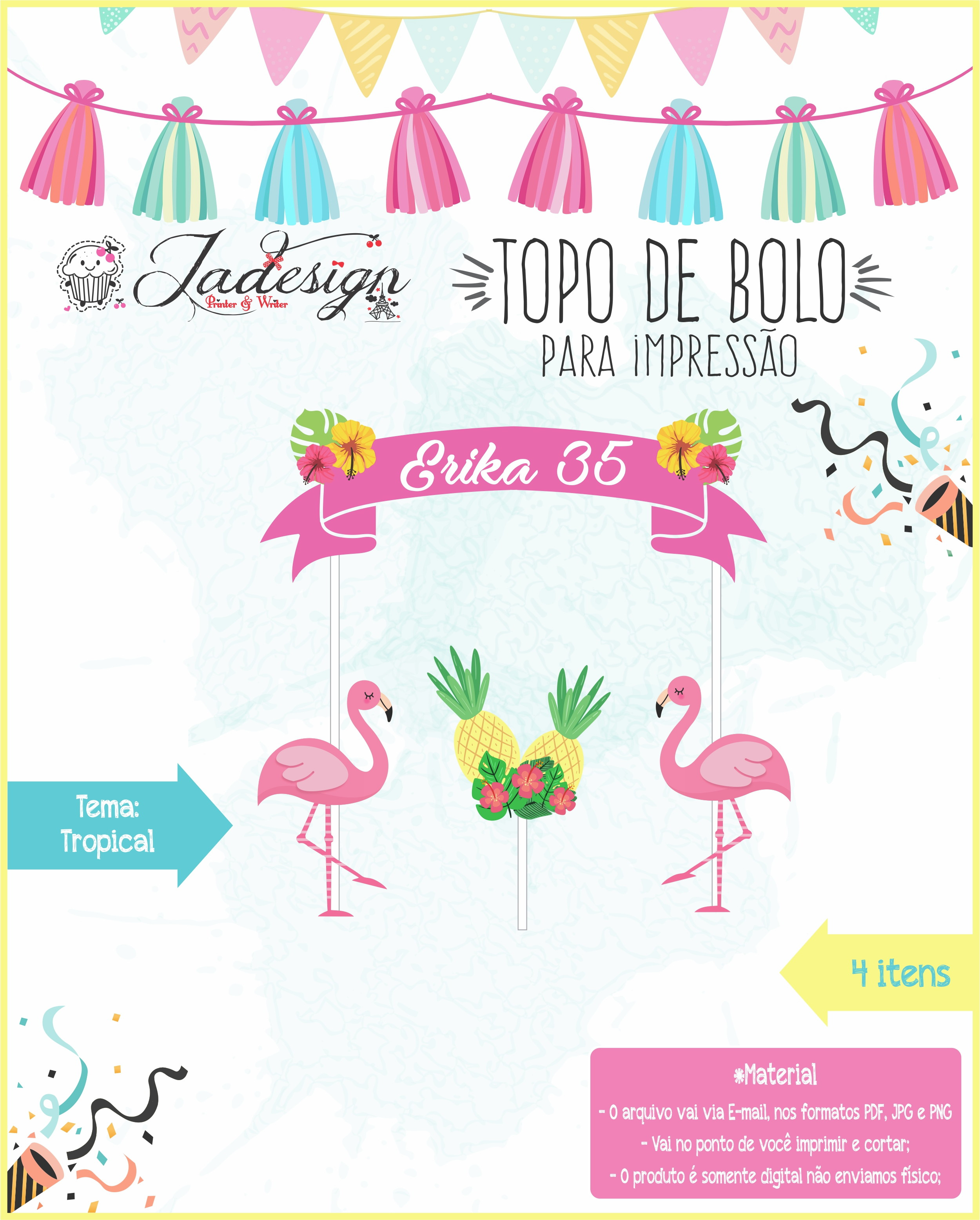 Topo De Bolo Para Impressão Tropical No Elo7 Jadesign Pw C8ebd4