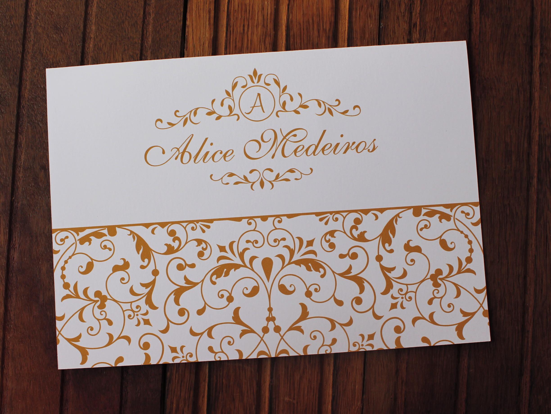 Convite 15 Anos Convite Casamento 240g Arabesco Dourado No