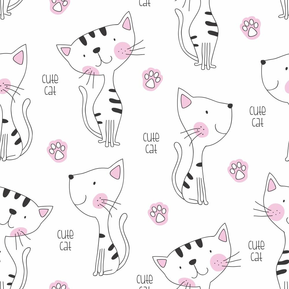 Papel De Parede Infantil Gato Cat Pet Pata Fofo 3m Ppi169 No Elo7