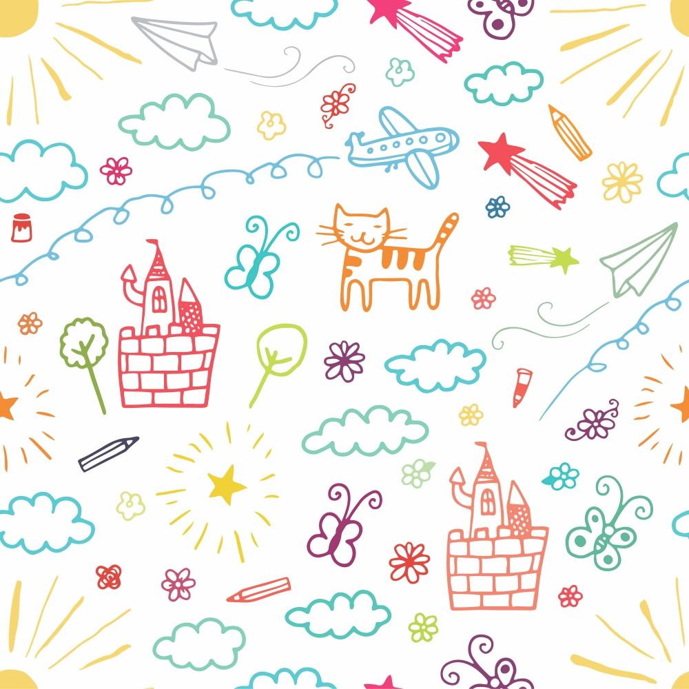 Papel Parede Infantil Desenhos Rabiscos Coloridos 3m Ppi174 No